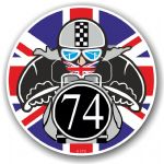 Year Dated 1974 Cafe Racer Roundel Design & Union Jack Flag Vinyl Car sticker decal 90x90mm